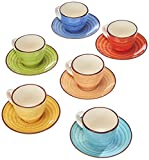 Tognana Art & Pepper LS18534M043 Set of 6 Coffee Cups with Cc90 Plate, Stoneware