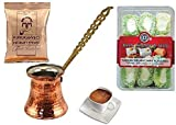 Turkish Cezve Copper Coffee Maker Pot with Metal Handle xx-small With 100g Turkish Coffee From UK