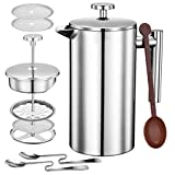 TOPELEK 1000ML Cafetiere French Press Coffee Maker, Double Wall Tea Maker with Stainless steel,...
