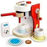 Toy Coffee Machine Wooden Toys- Cafe Role Play Coffee Maker Pretend Toy Tableware Kitchen Tea Set...