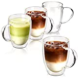 EZOWare Double Wall Coffee Mug Set, Clear Glass Thermal Insulated Cups with Handles for Hot or Cold...