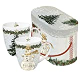 PPD Set of 2 Coffee Cups with Matching Handle and Gift Box Christmas Decoration