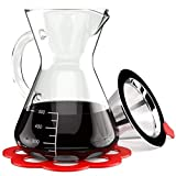 Artisan Pour Over Coffee Maker - Borosilicate Thermal Glass Carafe - Reusable Stainless Steel Mesh...