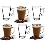 ANSIO Large Latte Glass Coffee Cups - 385ml (13 oz) - Gift Box of 6 Latte Glasses - Compatible with...