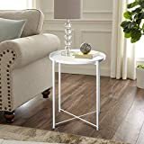 INMOZATA Metal Side Table Coffee Table Round End Table Small for Living Room Bedroom