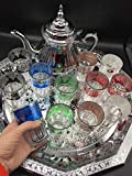Complete Moroccan Tea Set, Teapot with Built-in Filter 2 ml + XL Tray 50 cm Silver Hexagonal with...