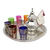 Moroccan Mint Tea Set Extra Large: Silver Tray 40 cm, Extra Large Teapot with Integrated Filter and...