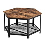 VASAGLE Coffee Table, Industrial Tea Table in Living Room Office, Stable Metal Frame and Mesh Shelf,...