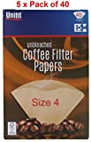 Pack of 200 Brown Coffee Filter Papers Size Four (4 or 1x4) suitable for coffee filter machines and...