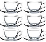 Pasabahce Basic 97948 12-Piece Cups with Saucers for Tea, Coffee, Cappuccino for 6 People