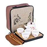 fanquare Japanese Portable Travel Tea Set with Travel Bag, Cherry blossom Kung Fu Tea Service for...