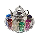 Complete Moroccan Tea Set, Tea Pot with Legs 800ml, 37 cm Diameter Tray with Legs and 6 Coloured...