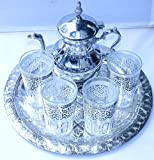 Set of Tea Moroccan – Teapot for 6 + Traditional Tray 30 cm + 4 Glasses + Keyring Hand of Fatima...