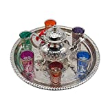 Complete Moroccan Tea Set, German Silver Teapot with Legs Measures 800 ml Silver Brass Tray without...