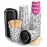 40 Paper Cups Coffee to Go - 8 Onzes Coffee Cups with Lids and Wooden Stirrers for Serving Coffee,...