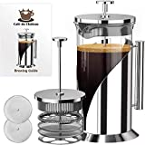 Cafe du Chateau French Press Coffee Maker - Heat Resistant Borosilicate Stainless Steel Coffee Press...