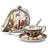 Panbado Bone China Cup & Saucer Set Tea Coffee Cup,Butterfly & Flower,Multi-Color(2 Sets) with Iron...