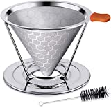 E-Prance Permanent Coffee Filter, KF2 Reusable Coffee Filter, Stainless Steel with Removable Stand...