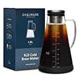 ovalware Airtight Cold Brew Iced Coffee Maker (& Iced Tea Maker) with Spout – 1.5L/51oz RJ3...